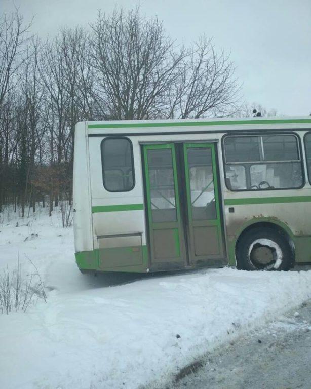 На Франківщині автобус із пасажирами злетів у кювет (фото)