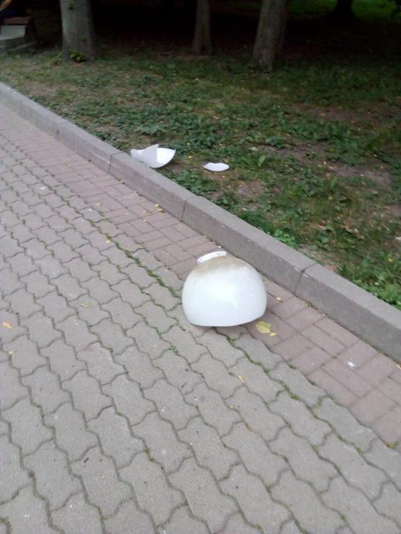 У міському парку чоловік ледь не загинув через плафон, який впав йому на голову (фотофакт)