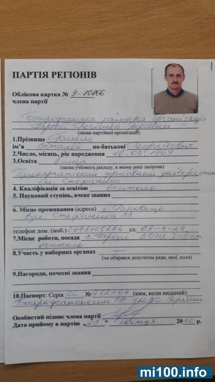 В мережі з'явилися докази, що претендент на директорське крісло у Богородчанському районі дійсно перебував у лавах «Партії регіонів» (документи)